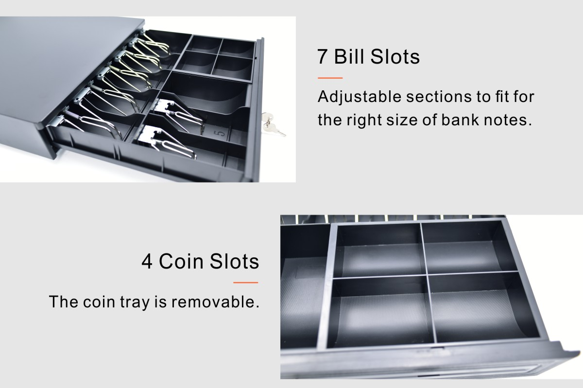 3-Lock 7-grid banknote slot cash drawer with metal WALLET 4-grid coin slot removable coin tray